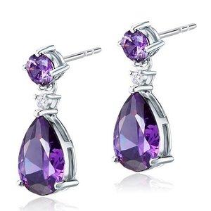 Cercei din argint Double Purple Sapphire