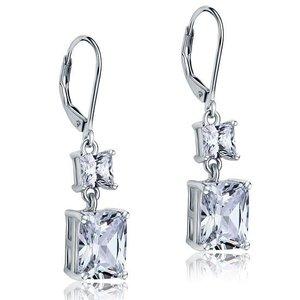 Cercei din argint Double Square Diamonds