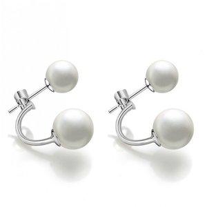 Cercei din argint Double White Pearls
