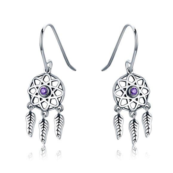 Cercei din argint Dream Catcher purple