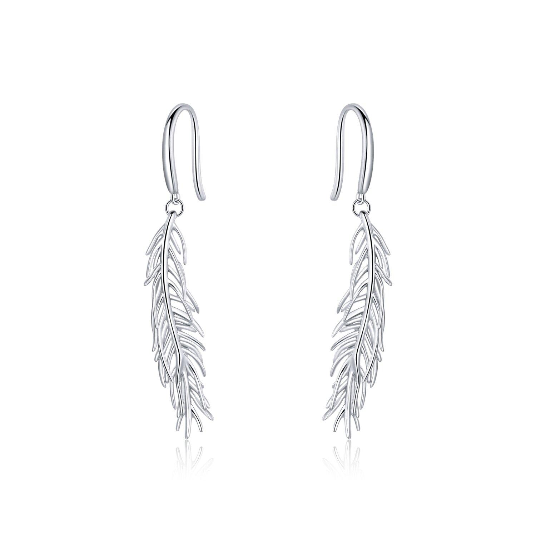 Cercei din argint Drop Feathers poza 2021
