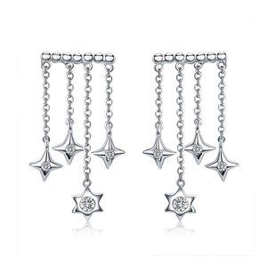 Cercei din argint Dropping Stars
