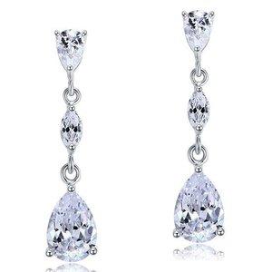 Cercei din argint Elegant Diamond Teardrops