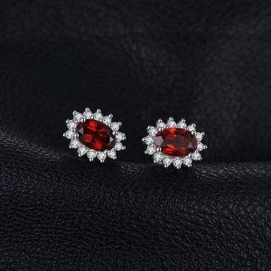 Cercei din argint Elegant Garnet