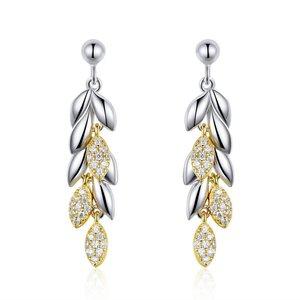 Cercei din argint Elegant Gold Feathers