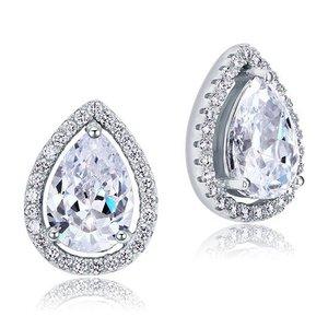 Cercei din argint Elegant Pear Diamond