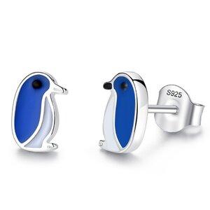 Cercei din argint Email Little Blue Pinguins