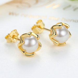 Cercei din argint Fancy Pearl gold