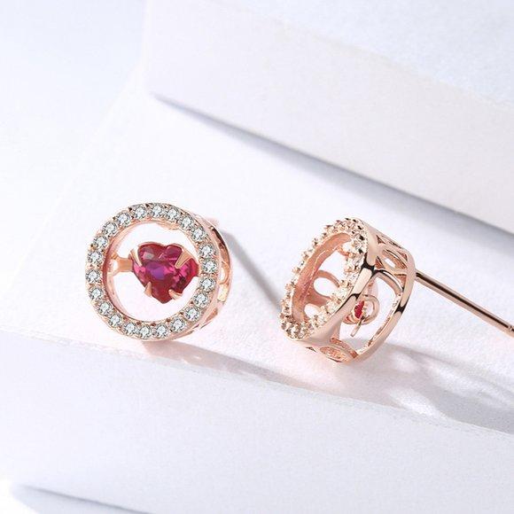 Cercei din argint Fashion Diamond Heart Golden
