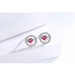 Cercei din argint Fashion Diamond Heart Red