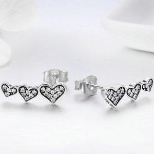 Cercei din argint Fashion Hearts