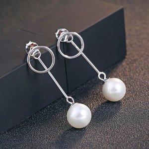 Cercei din argint Fashion Long Pearls