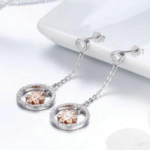 Cercei din argint Flower in Circle