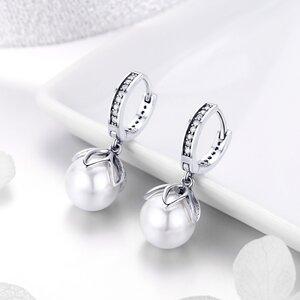 Cercei din argint Flowerd Pearls Hoops