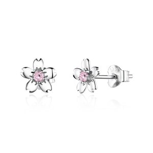Cercei din argint Flowers & Pink Crystals