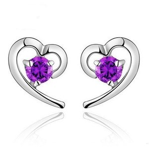 Cercei din argint Funny Heart purple