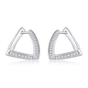 Cercei din argint Geometric Crystal Hoops