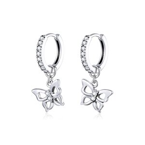 Cercei din argint Glamour Butterflies Hoops