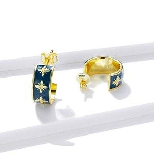 Cercei din argint Golden Blue Baroque