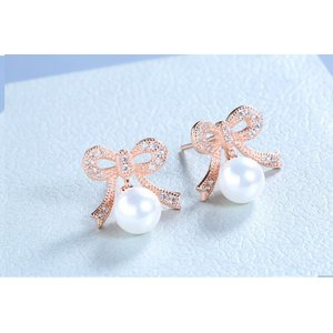 Cercei din argint Golden Bow Pearl