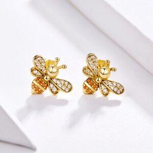 Cercei din argint Golden Crystal Bee