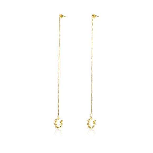 Cercei din argint Golden Crystal Long Hoops