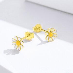 Cercei din argint Golden Daisy