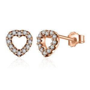 Cercei din argint Golden Diamond Hearts
