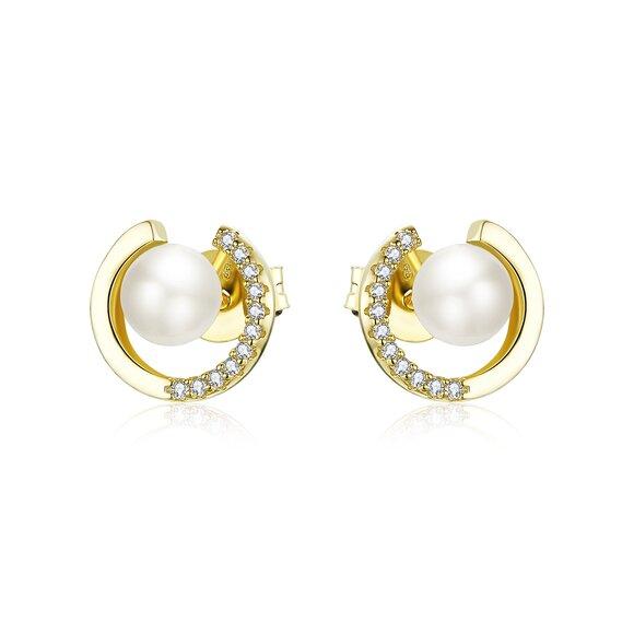 Cercei din argint Golden Diamonds Pearls