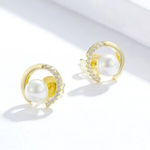 Cercei din argint Golden Diamonds Pearls