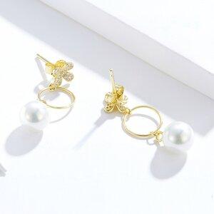 Cercei din argint Golden Glamour Flowers