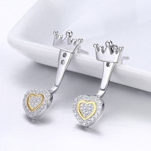 Cercei din argint Golden Hearts