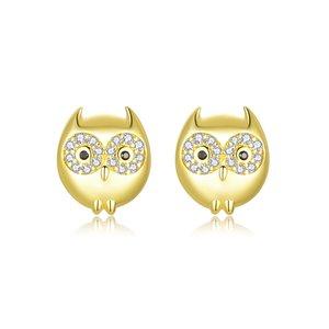 Cercei din argint Golden Little Owl