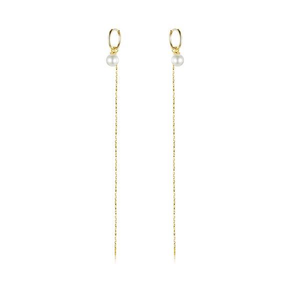 Cercei din argint Golden Long Rope & Pearls