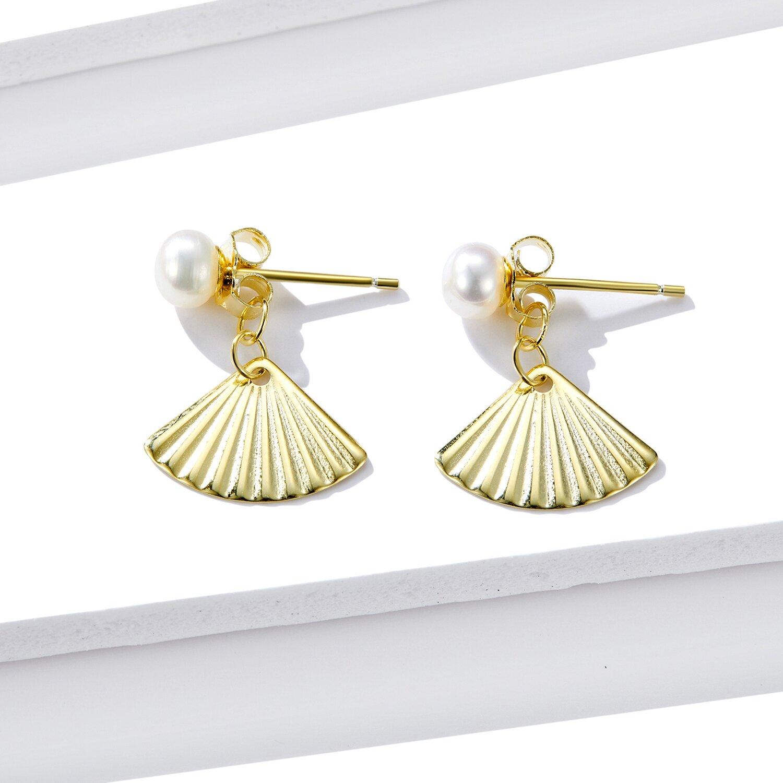 Cercei din argint Golden Pearl Shell