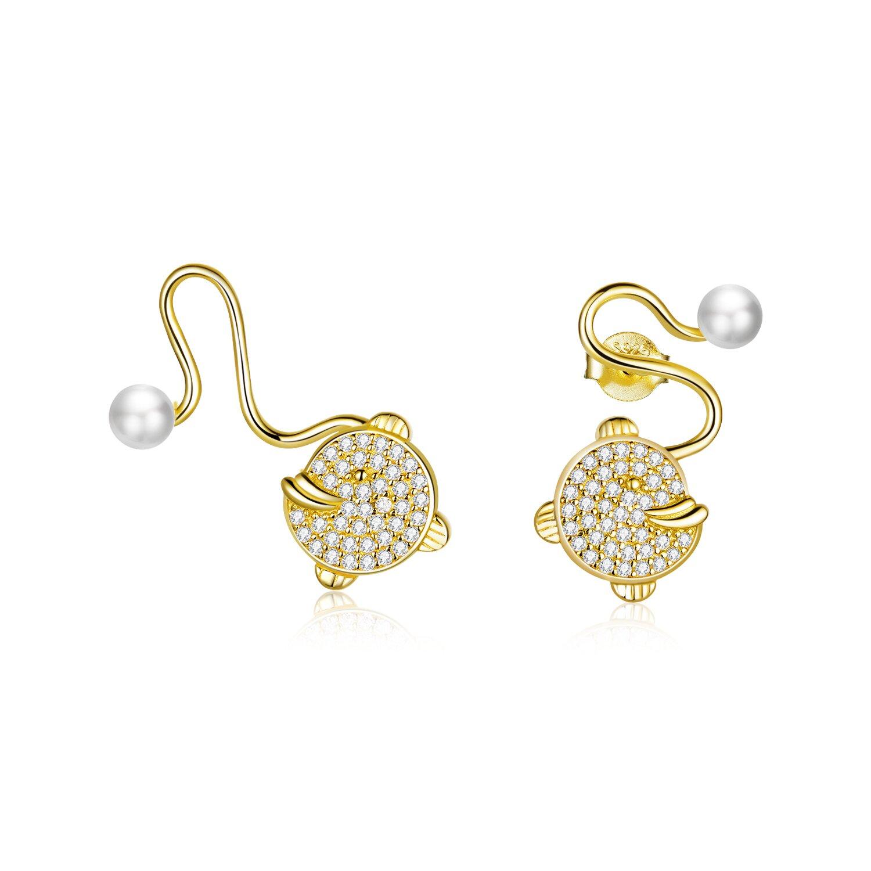 cercei din argint golden pearl tail 77350 4