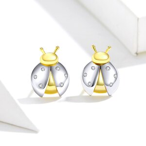 Cercei din argint Golden Silver Ladybug
