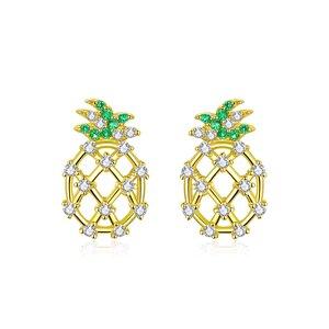 Cercei din argint Golden Sparkling Pineapple