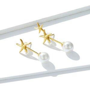 Cercei din argint Golden Starfish