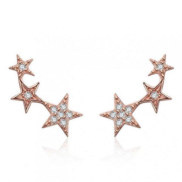 Cercei din argint Golden Stars