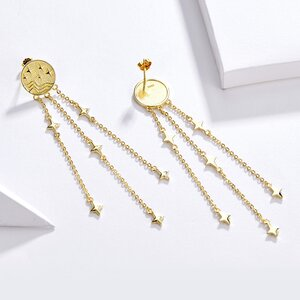Cercei din argint Golden Tassel Drops