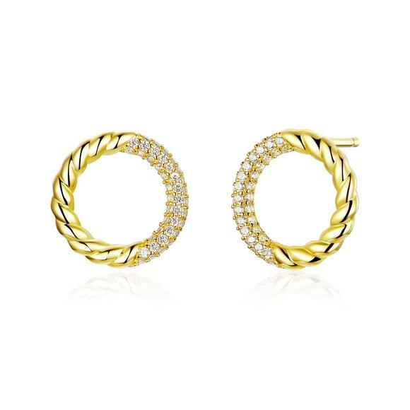 Cercei din argint Golden Twist Circles