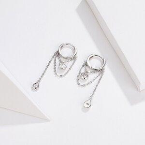 Cercei din argint Gorgeous Chains Hoops