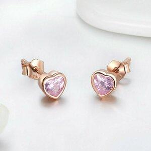 Cercei din argint Gorgeous Hearts Pink