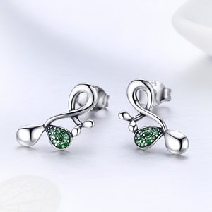 Cercei din argint Green Crystals
