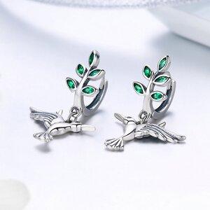 Cercei din argint Green Hummingbird
