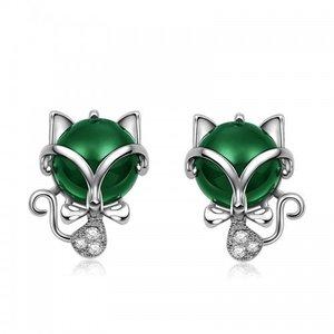 Cercei din argint Green Little Cats