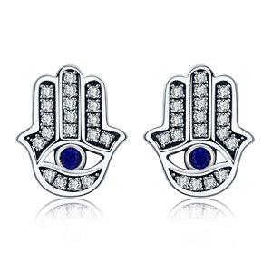 Cercei din argint Hamsa Blue Eye