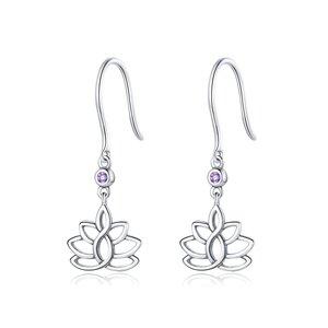 Cercei din argint Hanging Lotus