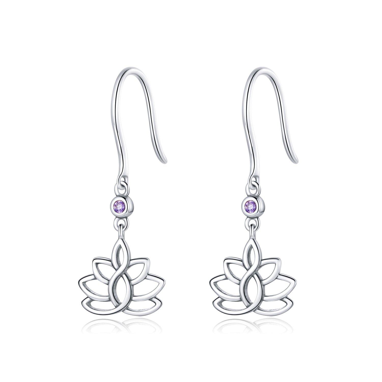 cercei din argint hanging lotus 87148 4